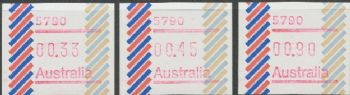 Australian Framas: Barred Edge Button Set 33c, 45c, 90c: Post Code 5790 Darwin